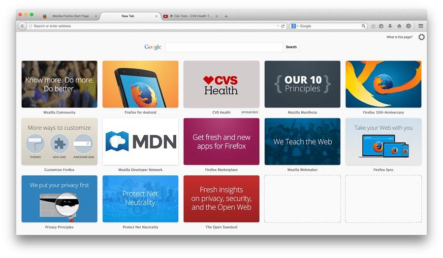 Mozilla firefox tile ads