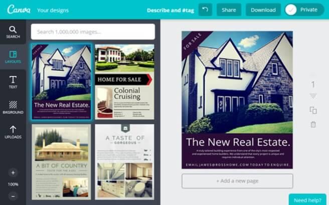 Canva a simple drag and drop software designer sysads for Real estate design software