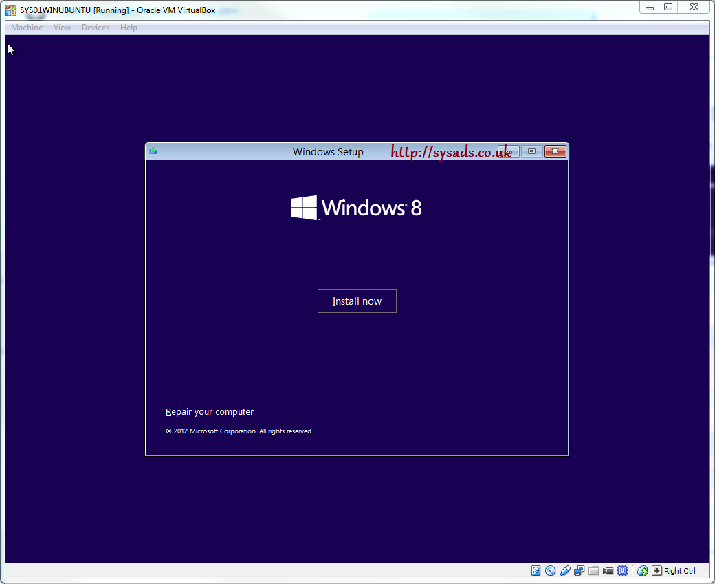 ubuntu machine windows 8